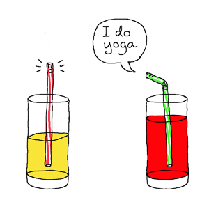 Even straws practice Yoga!