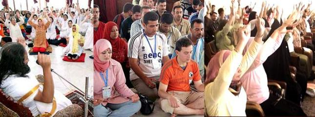 People in Iraq learning yoga and meditation through The Art of Living