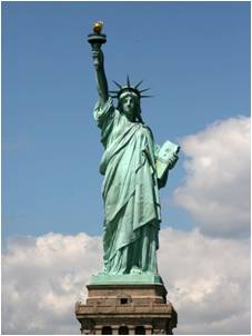 Statue of Liberty also upholds a flame